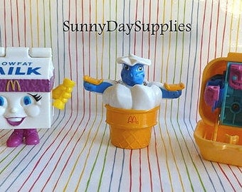 Vintage McDonald's Happy Meal Toys, Chicken McNuggets, Milk,  Ice Cream Cone, Robots, Changeables, Transformers, 1980's to 1990's, Food Toys