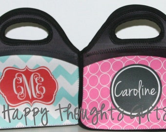 Monogrammed Lunch Bag  - Personalized Lunch Box - Choose your Design and Colors