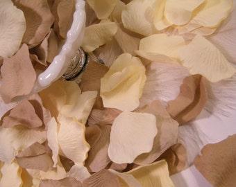 500 Rose Bulk Flower Petals, Artificial Flower Petals, Ivory / Tan Wedding Decoration, Romantic, Flower Girl Basket Petals, Craft Supplies
