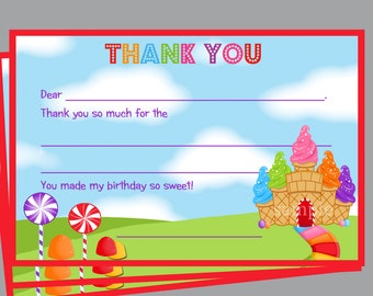 Candy Ice Cream Thank You Note Printable - Instant Download