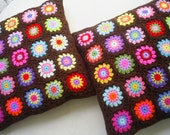 set of 2 candy in chocolate dip granny square crochet cushion covers/ pillow covers