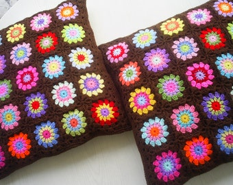 set of 2  granny square crochet cushion covers/ pillow covers in brown edging