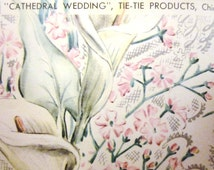 Vintage Wrapping Paper - Cathedral Wedding - One Sheet Gift Wrap - Tie Tie 1952