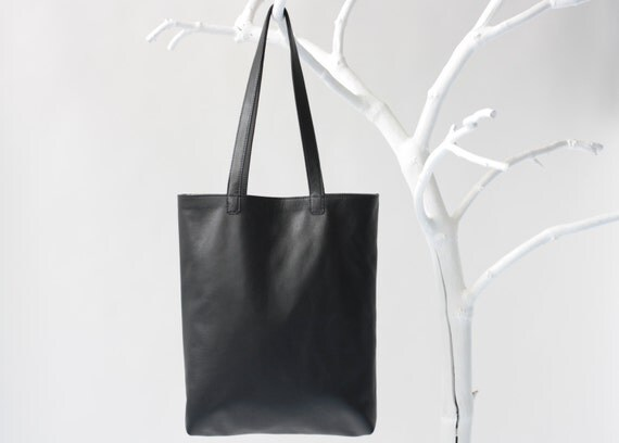 Genuine Leather Tote in Black with cotton lining, removable leather key strap, laptop bag, leather shopper, shoulder bag