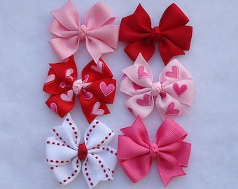 Valentine Hair Bows~Baby Hair Bows~Small Hair Bows~Boutique Hair Bows~Valentine's Day Bows~Hair Bows~Hair Clips~Baby Bows~Red Hair Bow~Bows