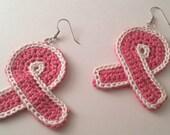 Breast Cancer Ribbon Crochet Earrings