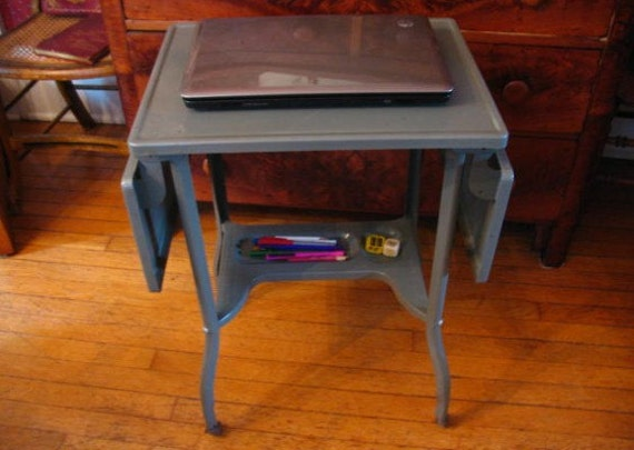 Vintage Metal Typewriter Table Folding Sides Industrial Table