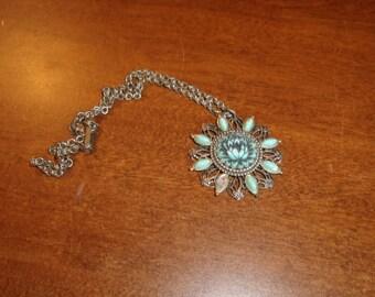vintage necklace silvertone faux turquoise