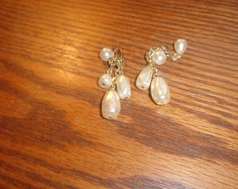 vintage clip on earrings faux pearl dangles