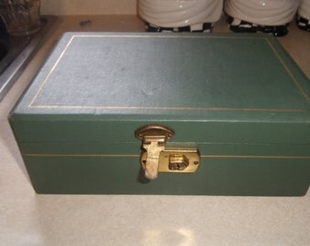 vintage jewelry box green
