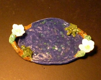 Turtle Dogwood soap dish Tray handmade in USA from a lump of clay sold by Artist