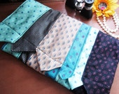 NECKTIE CLUTCH Purse - Teal and Cream - Uniquely Made From Neckties