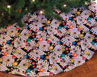 Bingo Christmas Tree Skirt, Bingo Holiday Decoration, Tree Skirt with Bingo Cards, Bingo Prize ... ON SALE