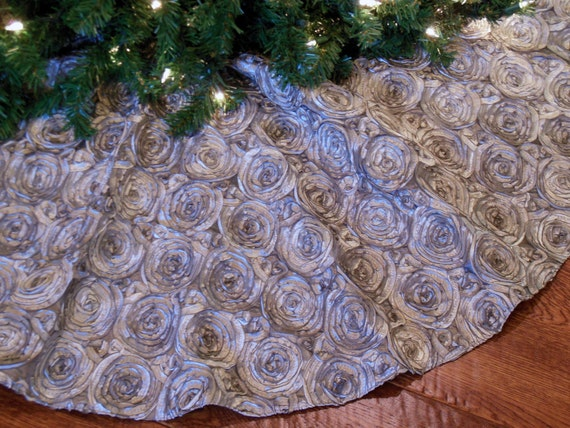silver christmas tree skirt ribbon tree skirt by