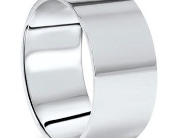 10MM Platinum Flat Comfort Fit Wedding Band Mens High Polished Ring