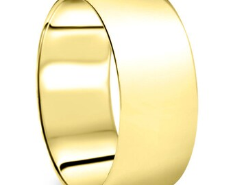 9MM 14K Yellow Gold Plain High Polished Mens Wide Wedding Band Ring Size 4-9