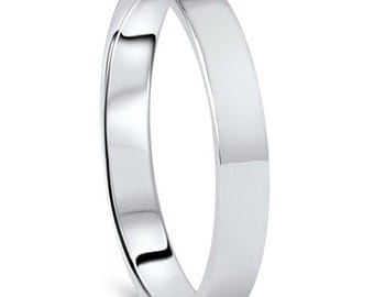 White Gold Wedding Band Womens 10K 3MM Flat High Polished Plain Anniversry Ring Size (4-10)