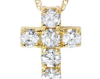 1.00CT Diamond Cross 14K Yellow Gold, Diamond Cross, 14k Yellow Gold, Diamond Pendant, Diamond Cross, Yellow Gold Cross, Natural Diamonds