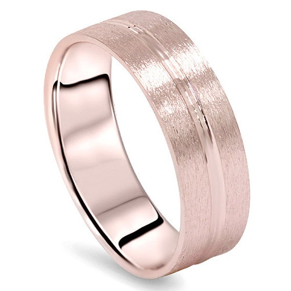 6mm flat 14k gold mens brushed wedding band ring comfort