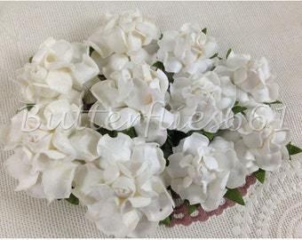 20 Mixed Size of Handmade Mulberry Paper Flowers White Wedding Roses MR - 15