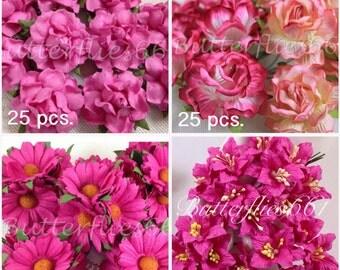 100 flowers SET 2  Handmade Mulberry Paper Flowers Hot Pink Wedding Roses
