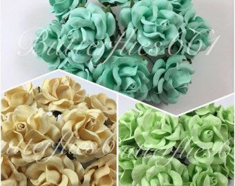 10 Handmade Mulberry Paper Flowers Large Wedding Roses