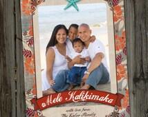 Christmas Photo Card, Vintage Hawaiian, Mele Kalikimaka, PRINTABLE, DIGITAL, Holiday Photo Card, Photo Card Template, Beach Photo Card