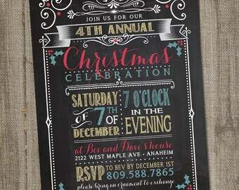 Christmas Party Invitation, Christmas Party, Christmas Invite, PRINTABLE, Christmas Party Invitation Elegant, Christmas Invitation Vintage