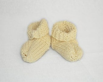 Knit baby booties ivory cotton