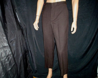 "60s M 33"" x 27"" Narrow Leg Wool Pants Dark Brown"