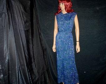 60s XL JUMPSUIT Paisley Nylon Silky Palazzo Pants Reitmans Royal Blue Forest Green