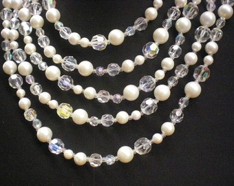 Crystal And Faux Pearl Vintage Necklace