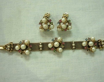 Vintage Gold Tone Mesh Faux Pearl Rhinestone Bracelet and Earrings Set 1940's