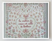 50% OFF french counted cross stitch pattern : The Color of the Heart Marie Suarez sampler wedding love Valentine's Day embroidery