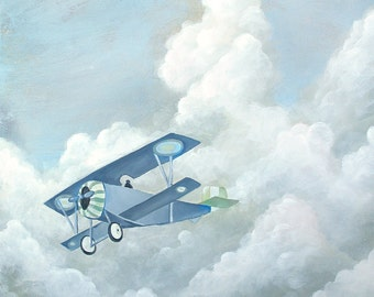 Plane Painting - Print 8x8 - Airplane in the Sky with Clouds - Blue - Gray - White