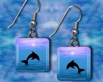Tranquility II Dolphin glass tile earrings