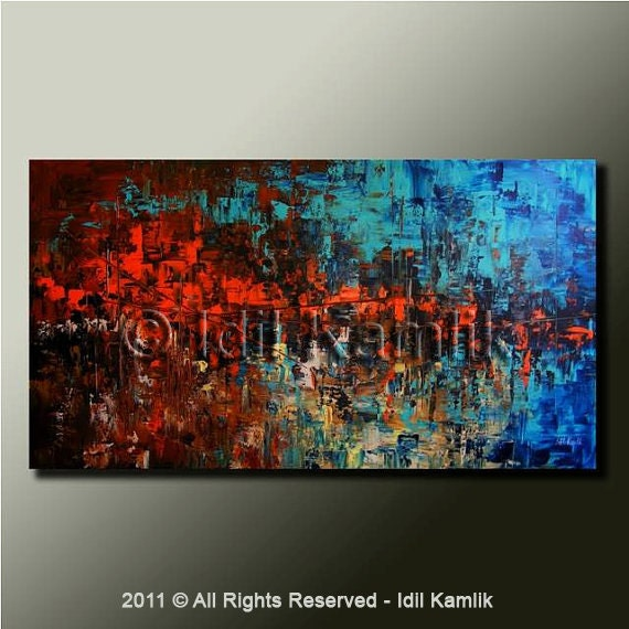 Original Modern ABSTRACT PAINTING Textured Contemporary Palette Knife Fine Art by Idil Kamlik