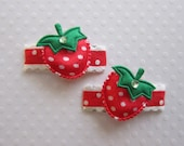 Tiny Strawberry Hair Clippie Pair for Infant, Toddler or Child