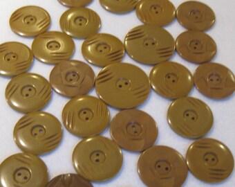 Vintage Bakelite Matte Butterscotch Buttons, Set of 27