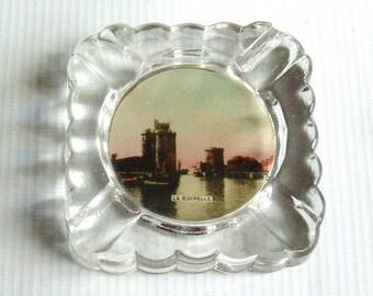 Vintage Art Deco French Souvenir Glass Ashtray La Rochelle France