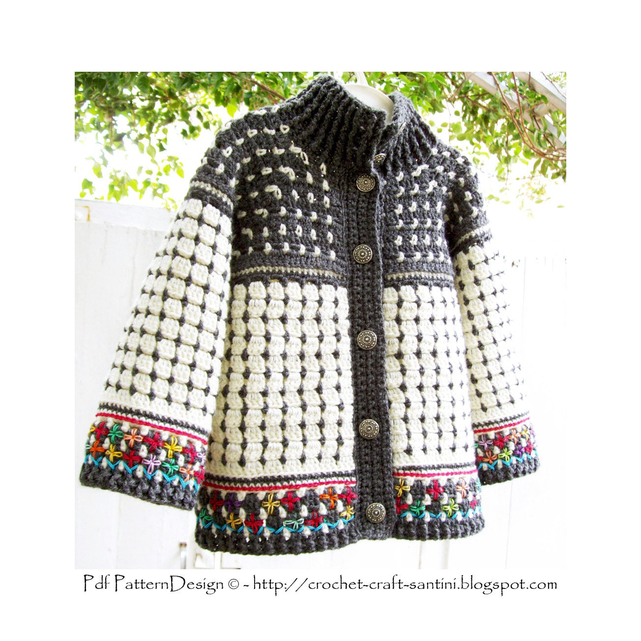 Knitted Throws Free Patterns : Fair Isle Style Cardigan for Kids Crochet Pattern Instant