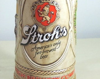 Vintage Beer Mug, Beer Stein, Strogh's Brewery, Collectible 1984, Edition, Beer Mug, Bar Accessory, Drink and Barware, Gift For A Man,