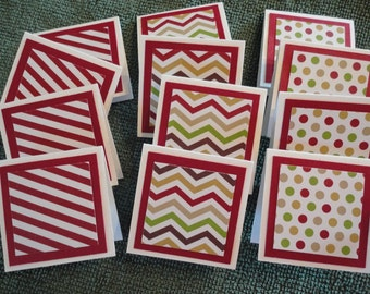 Gift Tags Folded  Dots-Chevrons-Stripes   Set of 12