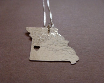 Missouri Necklace. Missouri State University Shaped Home Charm. I heart State of Missouri Columbia Outline Pendant. Gift For Her.