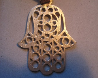 Large Hamsa Necklace Matte Gold and Leather