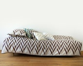 Linen bedding set Toddler size by Lovely Home Idea Brown Chevron Zig Zag pillowcase duvet fitted sheet