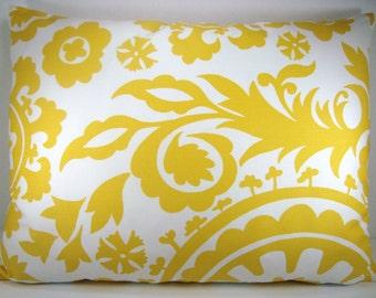 Yellow White Suzani Decorative Modern Accent Toss Lumbar Pillow 15X19 Pillow Cover