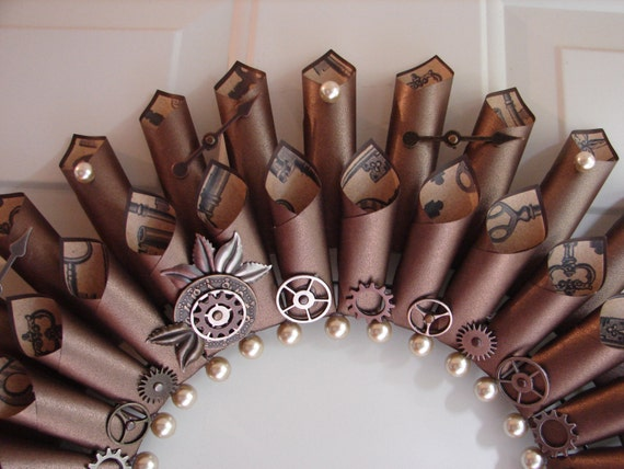 steampunk home decor diy steampunk paper wreath metal gears clockwork wire 11744