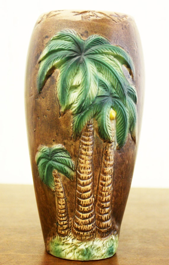 Large Brown Ceramic Vase W Palm Tree Design E3490