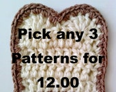 Crochet Away!  Pick Any 3 Crochet Patterns for 12.00